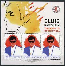 Guyana 2018 MNH Elvis Presley King Rock n' Roll 3v M/S Celebrities Music Stamps