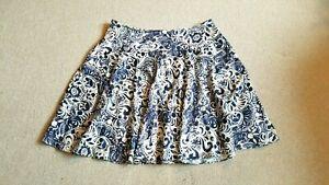 Womens Skirt-LAUREN by RALPH LAUREN-white/blue floral/paisley cotton A-line-16W