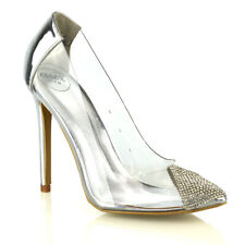 New Womens High Heel Shoes Ladies Perspex Diamante Point Toe Slip On Pumps Size
