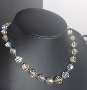 LOVELY VINTAGE 40S 50S AURORA BOREALIS GLASS BEAD CHOKER NECKLACE 16 17 18 INCH