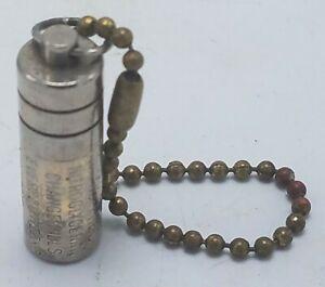 Vintage Necklace Nitro Fresh Nitroglycerine Metal Pill Case on Beaded Chain