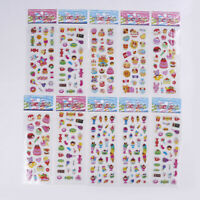 10 Sheets kids cartoon ice cream food bubble stickers children school rew eH
