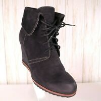 Biala Black Leather Wedge Ankle Booties Womens Size 5.5 M US EU 37 Lace Up euc