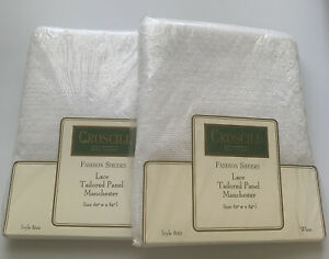 2 Vintage Croscill White Lace Floral Straight Panels 60 x 84 NIP NEW