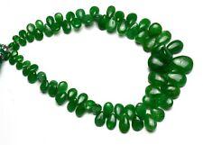 "Natural Gem Fine Quality Tsavorite Smooth Pear Shape Briolette Beads Strand 9.5"""