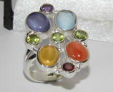 Sterling Silver 925 Multi Gem Large CHAKRA Cluster Ring size N - Real Gem Stones