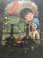 Vintage Christmas Card Boy Looking Up Chimney For Santa Puppy Dog Fireplace