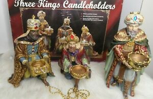 KIRKLAND COSTCO THREE KINGS CANDLEHOLDERS WISEMEN SET