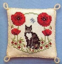 Poppy Black Cat Poppies Pincushion Cross Stitch Kit By Textile Heritage