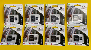 8 pack x 32gb = 256 GB Kingston Canvas Select + UHS-I U3 microSDXC Memory Card
