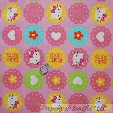 BonEful Fabric FQ Cotton Quilt Pink Hello KITTY Cat Heart Yellow Flower Girl Bow