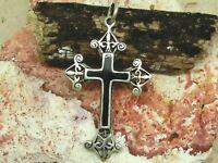 Kreuz Emaille schwarz 925 Sterling Silber Anhänger Halskette Lilie Gothic