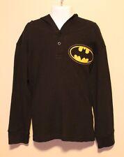 BOYS size 6 BATMAN long sleeve black t-shirt with hood DC Comics NWT