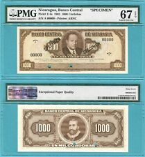 Nicaragua 1000 Cordobas 1962 P114s UNC - Specimen / PMG graded Superb GEM67EPQ