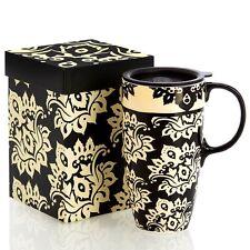 17oz Damask Print Ceramic Travel Mug by Cypress Refresh