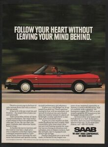 1992 Red SAAB Convertible Sports Car VINTAGE AD
