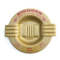 Vintage Metal Ashtray BIGHORN Ready to Eat Meat Treats Advertising Souvenir