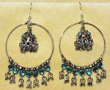 Hippie Beaded Boho Bohemian Gypsy Hoop Flamenco Belly Dance Dancing Earrings