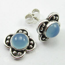 "925 Solid Silver Fancy AQUA CHALCEDONY CUTE Post Earrings 0.6"" JEWELRY STORE"