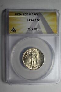 1924 Standing Liberty Quarter MS63 ANACS #996