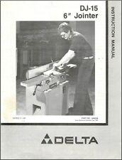 "Delta DJ-15 6"" Jointer Instructions Manual & Parts List PDF"