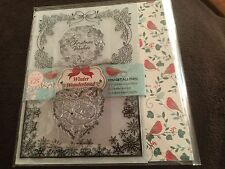 CHRISTMAS WISHES WINTER WONDERLAND FOX EMBOSSING FOLDERS 2 X FESTIVE CLEAR STAMP