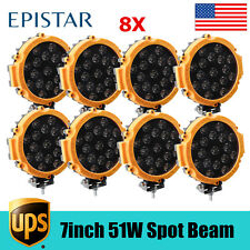 "8X 51W 7"" LED Work Light Spot Driving Lamp For Jeep Offroad ATV SUV Yellow Slim"