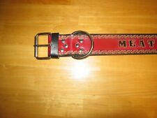 """CUSTOM MADE LEATHER DOG COLLAR WITH YOUR DOG'S NAME 2"""" width RED AND BLACK"""