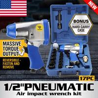 """17Pc Air Impact Wrench Kit 1/2"""" Dr. Socket Set Rattle Gun Pneumatic Tool Set EK"""
