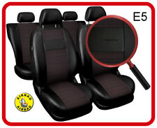 Car seat covers fit Nissan Micra - full set black/red leatherette/polyester
