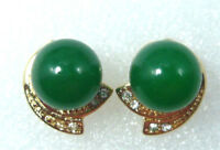 18K Gold Plated  Natural Freshwater Pearl Jade Stud Earrings Women Jewelry Gift