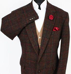 Harris Tweed Blazer Jacket Brown Windowpane 44R SUPERB QUALITY X317