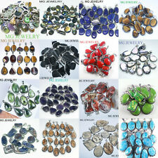 10Pcs Labradorite Amethyst Lapis and Mix Gemstone Pendants Lot 925 Silver Plated
