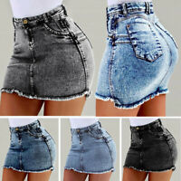 Women Washed Frayed Mid Waist Jean Denim Skirt Bodycon Summer Mini Skirt HL