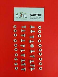 GENUINE Elite x 20 Greenhouse Aluminium M6 11mm Square Head Bolts&Nuts,Rust Free