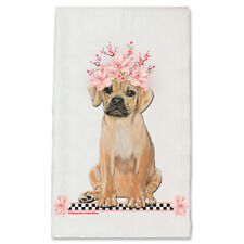Puggle Dog Floral Kitchen Dish Towel Pet Gift