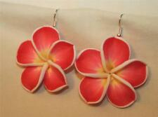 Lovely LG Peach & Yellow Fluted Polynesian Flowers Polymer Clay PIERCED Earrings