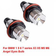 2X 6000K 10W ANGEL EYES LED HALO Ring Marker Light For BMW E39 E53 E60 E61