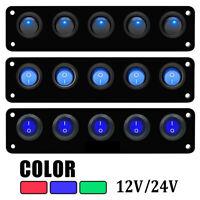 12V 24V 5 Gang LED Rocker Switch Control Panel Caravan Camper Car Boat Marine