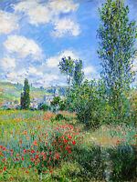 Monet 1880, View of Vetheuil, Fade Resistant HD Art Print or Canvas