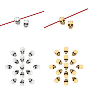 30 x Silver/Gold Tone Skull Head Spacer Beads for Bracelet Necklace Making