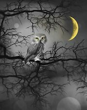 Black White Yellow Moon Owl Bedroom Yellow Gray Home Wall Art Picture