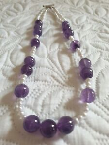Beautiful Amethyst & Pearl 925 Sterling silver Necklace