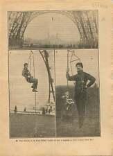 Paul Cans Peintre en Batiment Tour Eiffel Corde ouistiti Paris 1921 ILLUSTRATION