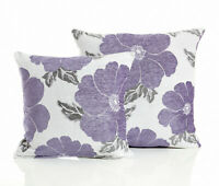 "Purple POPPY Floral Modern Thick Chenille Cushion Cover 18"" x 18"" & 22"" x 22"""