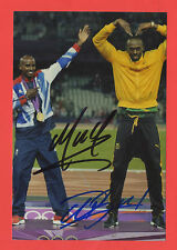 2 Orig.Autogramme  USAIN BOLT (Jamaica) + MO FARAH (England)  !!  TOP RARITÄT