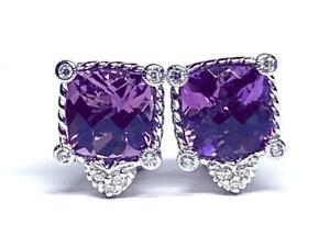 Vibrant Judith Ripka Sterling, Amethyst & Diamonique Earrings
