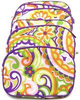 Lot of 6: CLINIQUE Floral Print Cosmetic Makeup Bag Set Zipper Pouch Set
