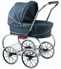 Valco Baby Classic Bassinet Doll Stroller Pram Kids Play Blue Denim NEW