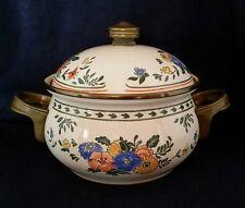 Vintage M KAMENSTEIN Enamel Covered Casserole Dish - Floral with Brass Handles